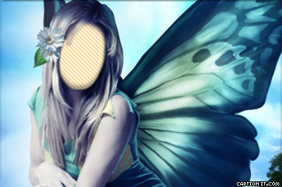 Caption it butterfly fairy face in hole maker