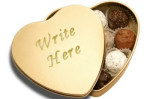 gold heart shaped candy box valentines day chocolates truffles romantic gift present engraved