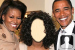 Barack and Michelle Obama Face in Hole