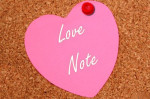 heart shaped postitnote thumbtack corkboard message reminder love romantic valentines day